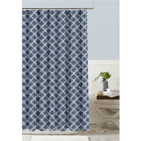 Charming Colordrift Polyester Indigo Patterned Shower Curtain