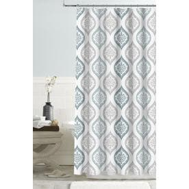 Colordrift Polyester Blue Patterned Shower Curtain