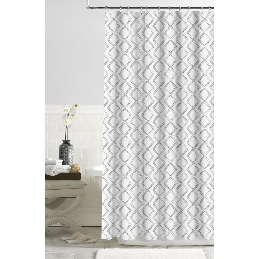 Colordrift Polyester Gray Geometric Shower Curtain
