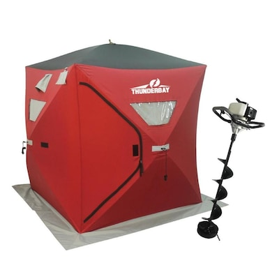 ThunderBay Powerful Ice Auger and Portable Two Man Shelter Combo