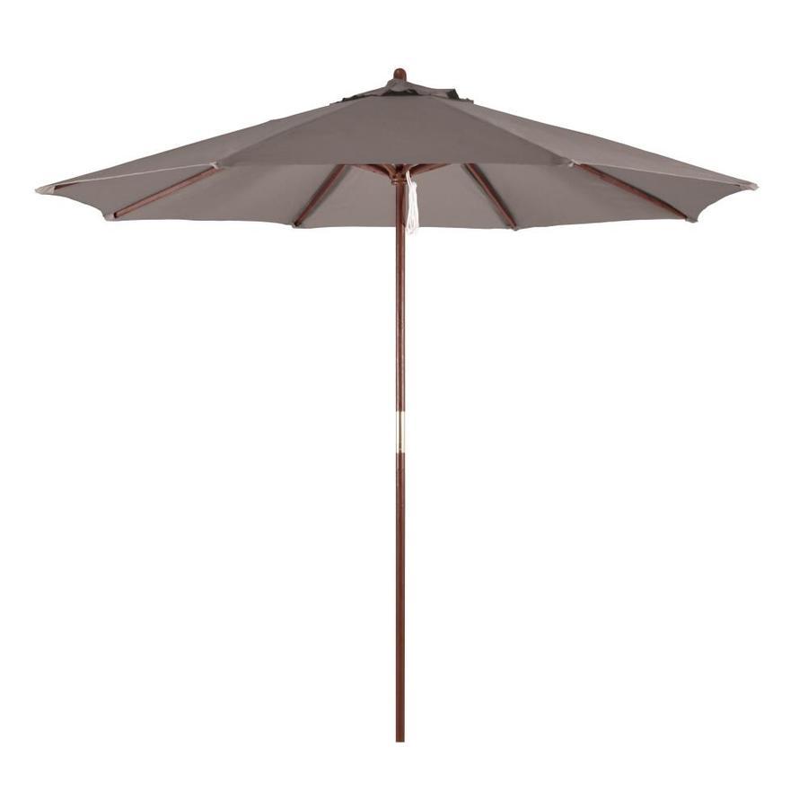 49f2d78040dd4 California Umbrella Taupe Market 9-ft No-tilt Octagon Patio Umbrella with  Hardwood Wood Frame