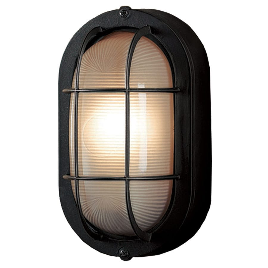 Shop portfolio h sand black outdoor wall light at for Outside lawn lights