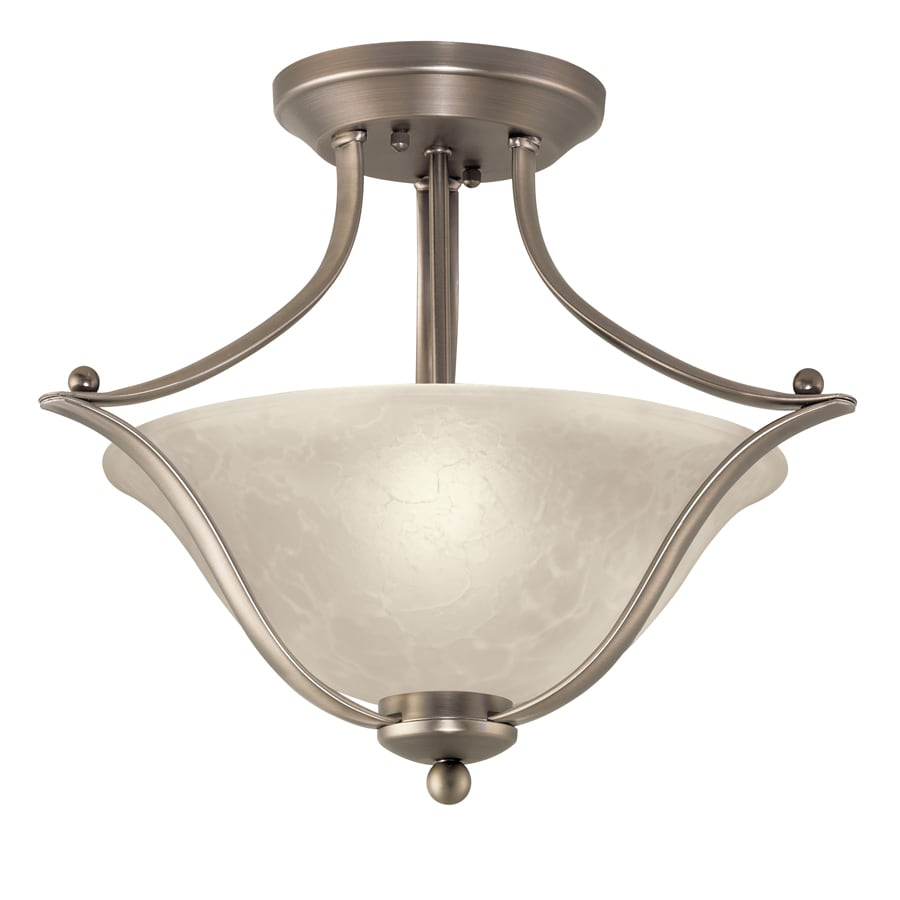 Portfolio 17.32-in W Brushed Nickel Alabaster Glass Semi-Flush Mount Light