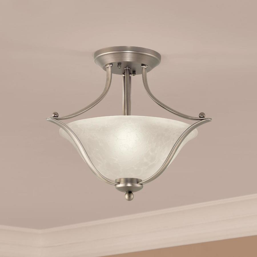 Portfolio 17 32 In Brushed Nickel Traditional Semi Flush Mount Light In The Flush Mount Lighting Department At Lowes Com