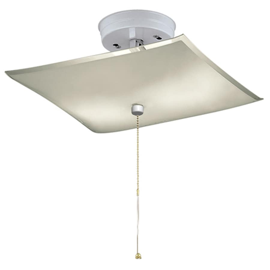 Project Source 11.81-in W White Frosted Glass Semi-Flush Mount Light