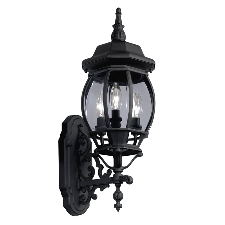 Portfolio 22.68-in H Black Outdoor Wall Light