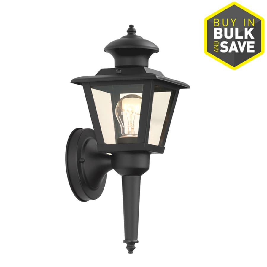 Portfolio 13.43-in H Semi Gloss Black Outdoor Wall Light