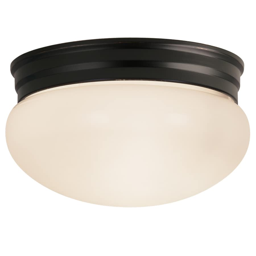 Project Source 9.25-in W Oil-Rubbed Bronze Flush Mount Light