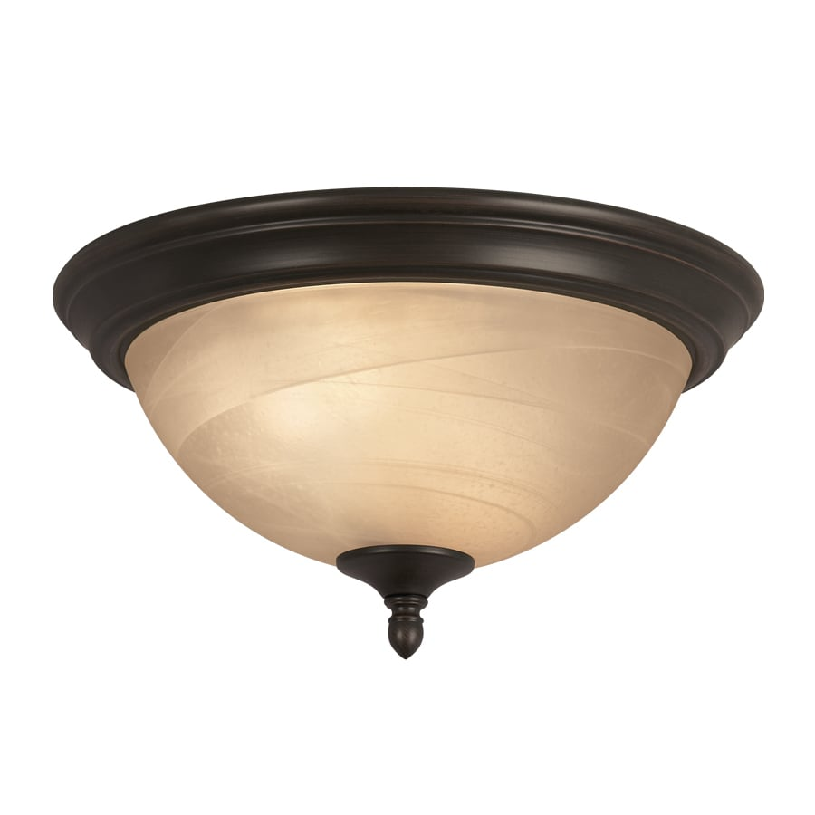 Shop Portfolio 13 In W Oil Rubbed Bronze Flush Mount Light At