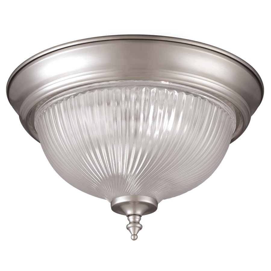 Project Source 11-in W Brushed Nickel Standard Flush Mount Light