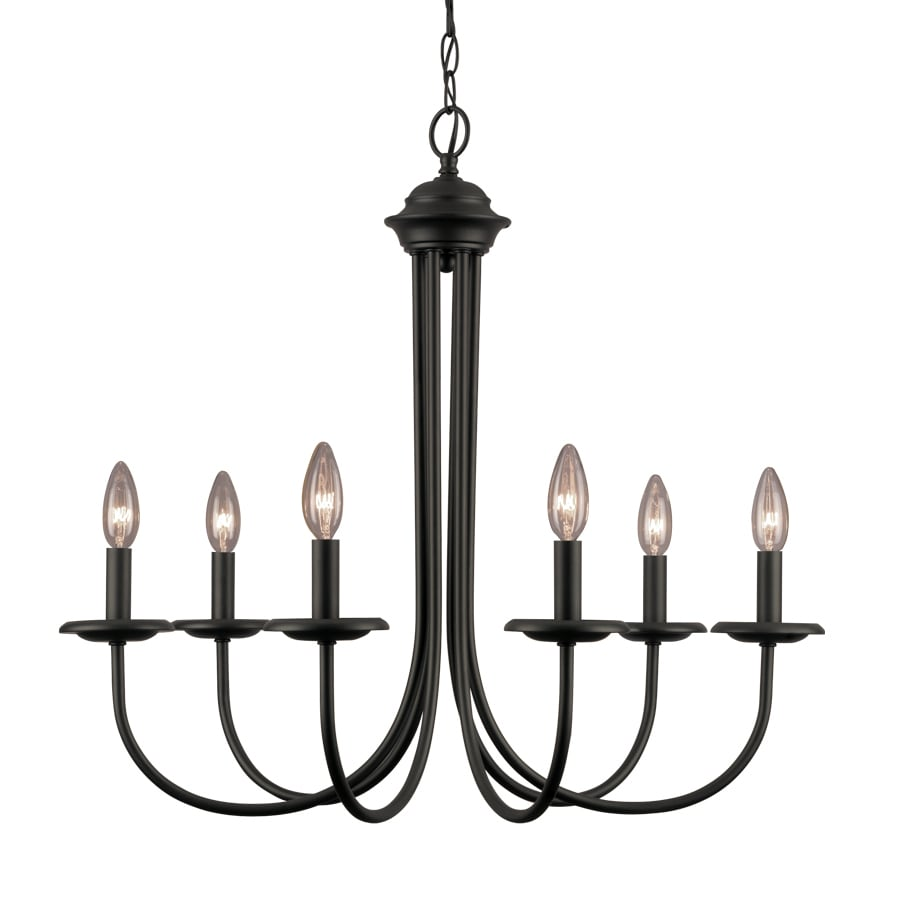 Portfolio 26.5-in 6-Light Black Linear Chandelier  sc 1 st  Loweu0027s & Shop Portfolio 26.5-in 6-Light Black Linear Chandelier at Lowes.com