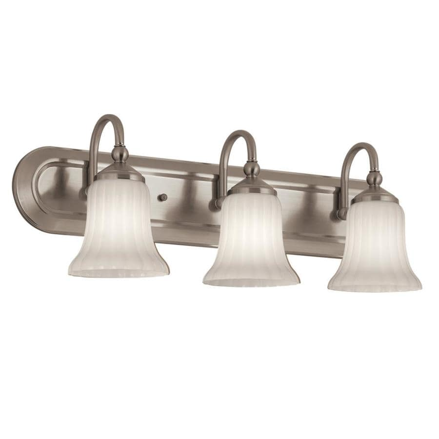 Vanity Lights In Brushed Nickel : Shop Portfolio Shaker Park 3-Light 8.5-in Brushed Nickel Oval Vanity Light Bar at Lowes.com