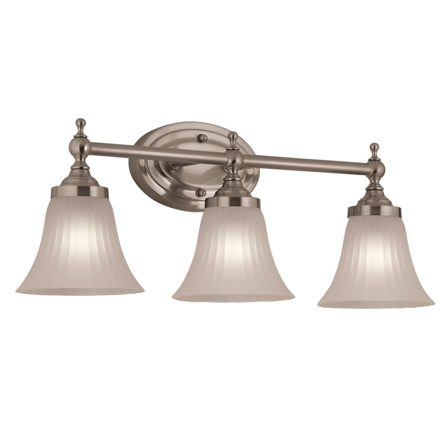 lowes bathroom lighting brushed nickel shop portfolio 3 light brushed nickel bathroom vanity 23715