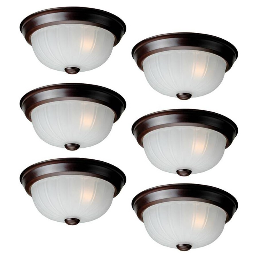 Project Source 6-Pack 10-in W Bronze Flush Mount Light