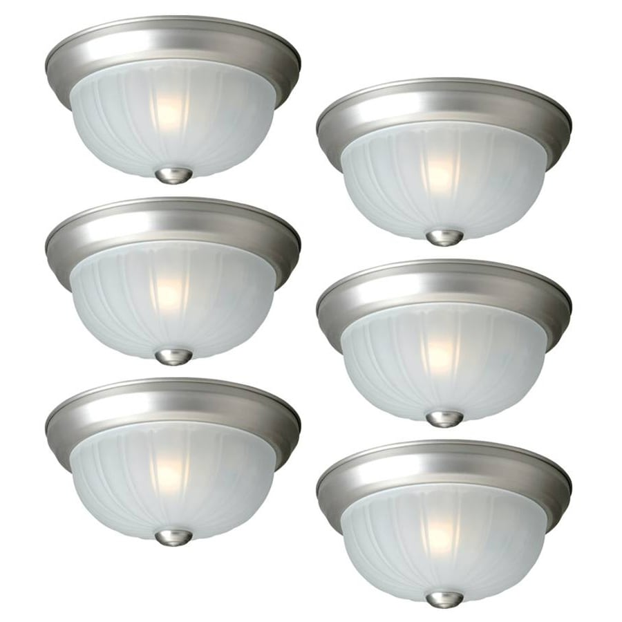Project Source 6-Pack 10-in W Painted Brushed Nickel Flush Mount Light