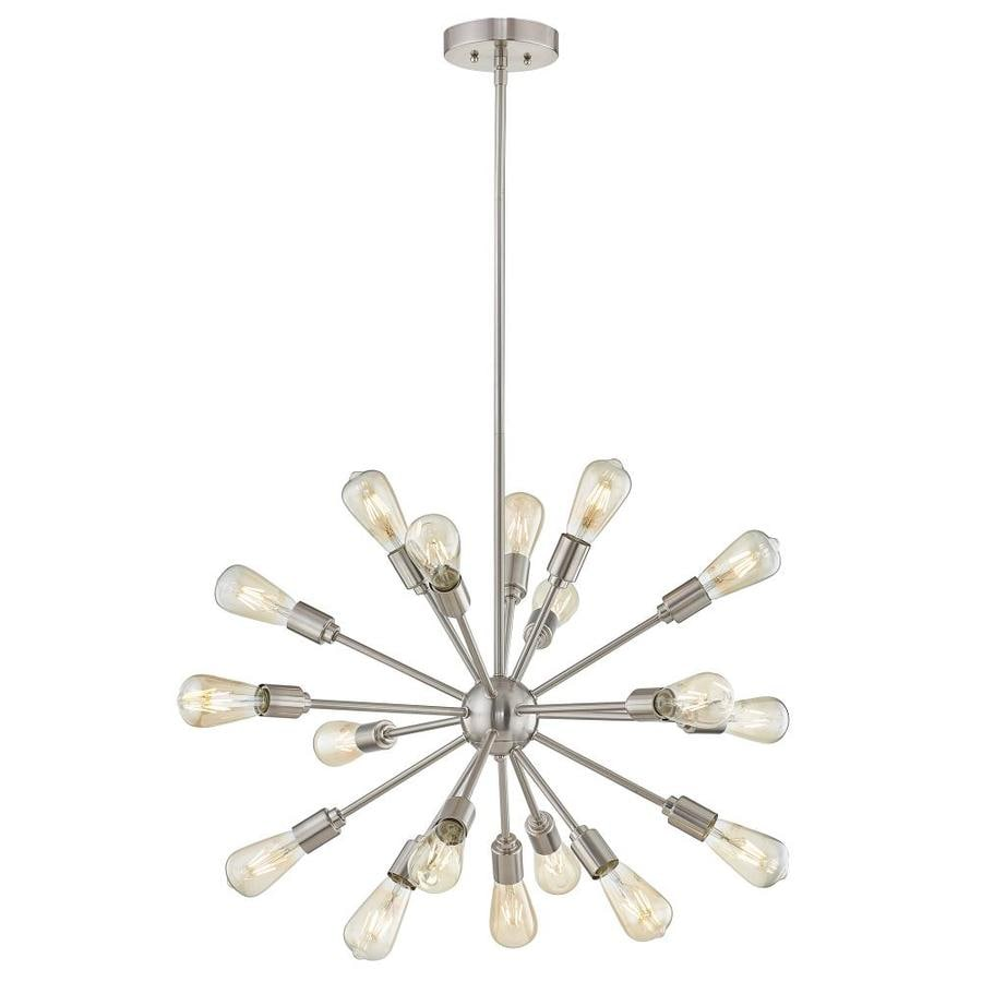 Great Style Selections Grayford 35.43 In 18 Light Brushed Nickel Tiered Chandelier