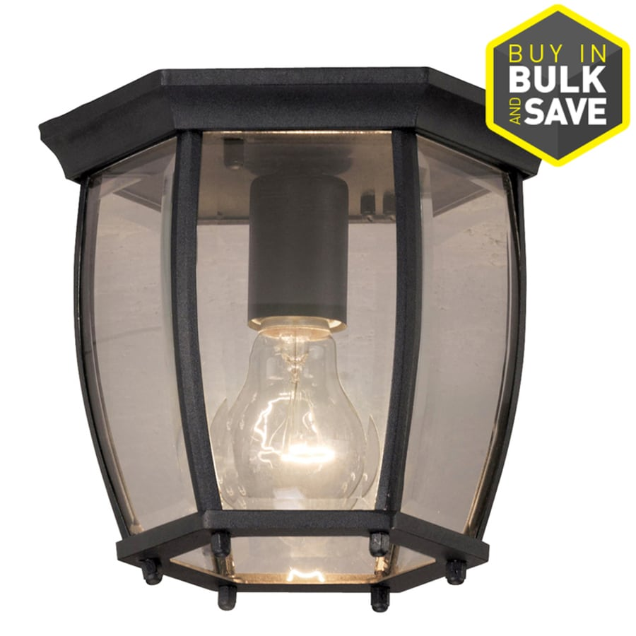 Portfolio 7.68 In W Matte Black Outdoor Flush Mount Light