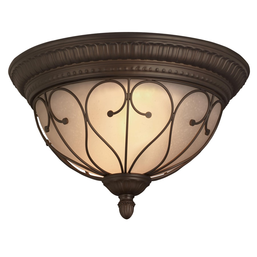 Shop Portfolio Charton Place 15.28-in W Oil-Rubbed Bronze Flush ...:Portfolio Charton Place 15.28-in W Oil-Rubbed Bronze Flush Mount Light,Lighting