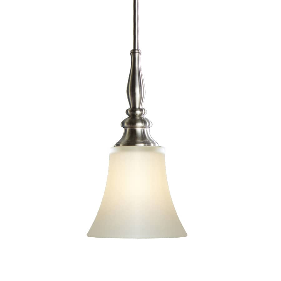 shop allen roth 6 46 in brushed nickel single etched glass bell