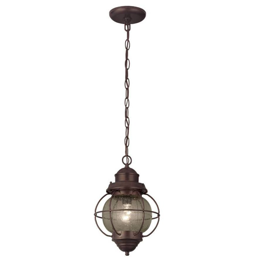 Portfolio 8.98-in Oil-Rubbed Bronze Single Clear Glass Cage Pendant
