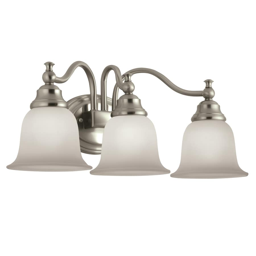 Portfolio brandy chase 3 light brushed nickel - Brushed bronze bathroom light fixtures ...