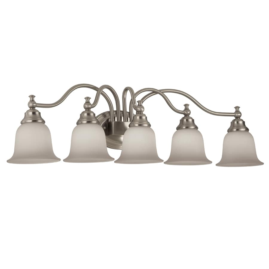 Shop portfolio brandy chase 5 light brushed nickel vanity - 8 light bathroom fixture brushed nickel ...