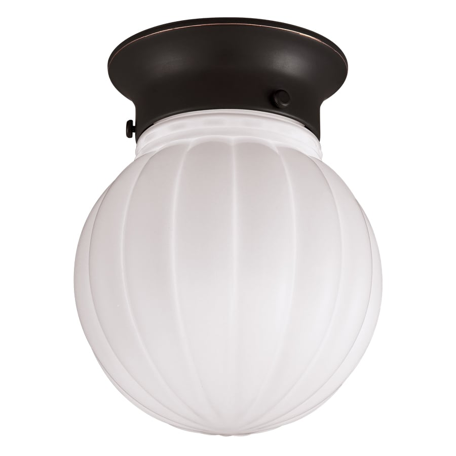 Project Source 5.91-in W Oil-Rubbed Bronze Flush Mount Light