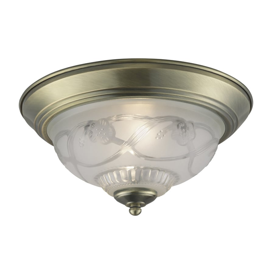 Project Source 11.4-in W Antique Brass Ceiling Flush Mount Light