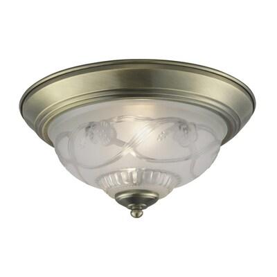 new style 2e120 066b4 11.4-in Antique Brass Flush Mount Light