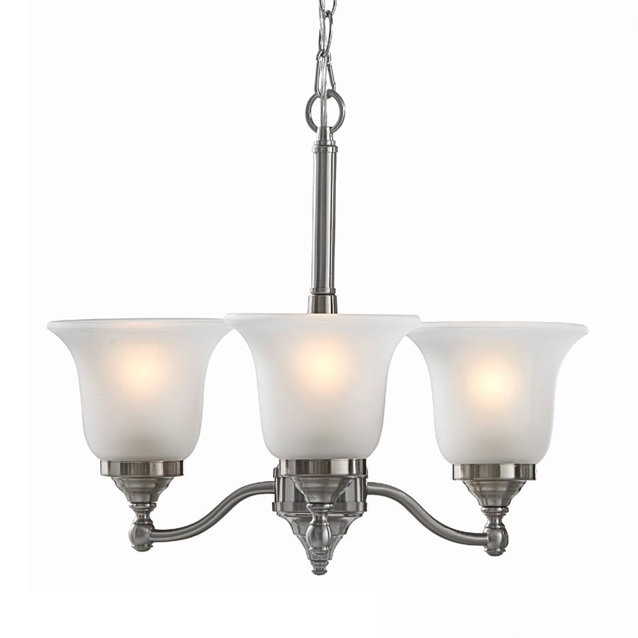 Portfolio Roseall 19.2-in 3-Light Brushed Nickel Etched Glass Shaded Chandelier