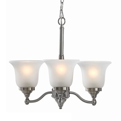 Portfolio Roseall 3 Light Brushed Nickel Traditional Etched Glass Shaded Chandelier At Lowes Com