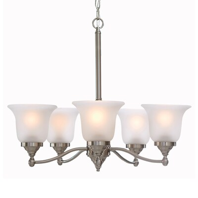 Roseall 5-Light Brushed Nickel Traditional Etched Glass Shaded Chandelier