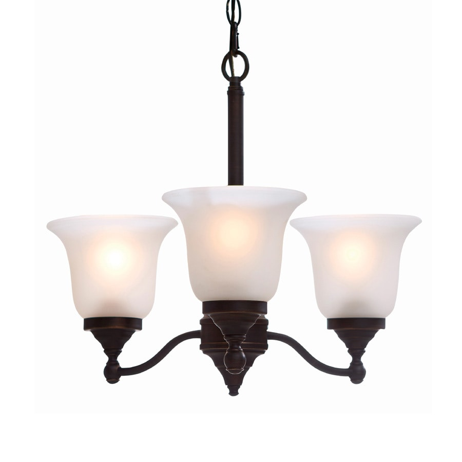 Portfolio Roseall 19.2-in 3-Light Oil-Rubbed bronze Etched Glass Shaded Chandelier