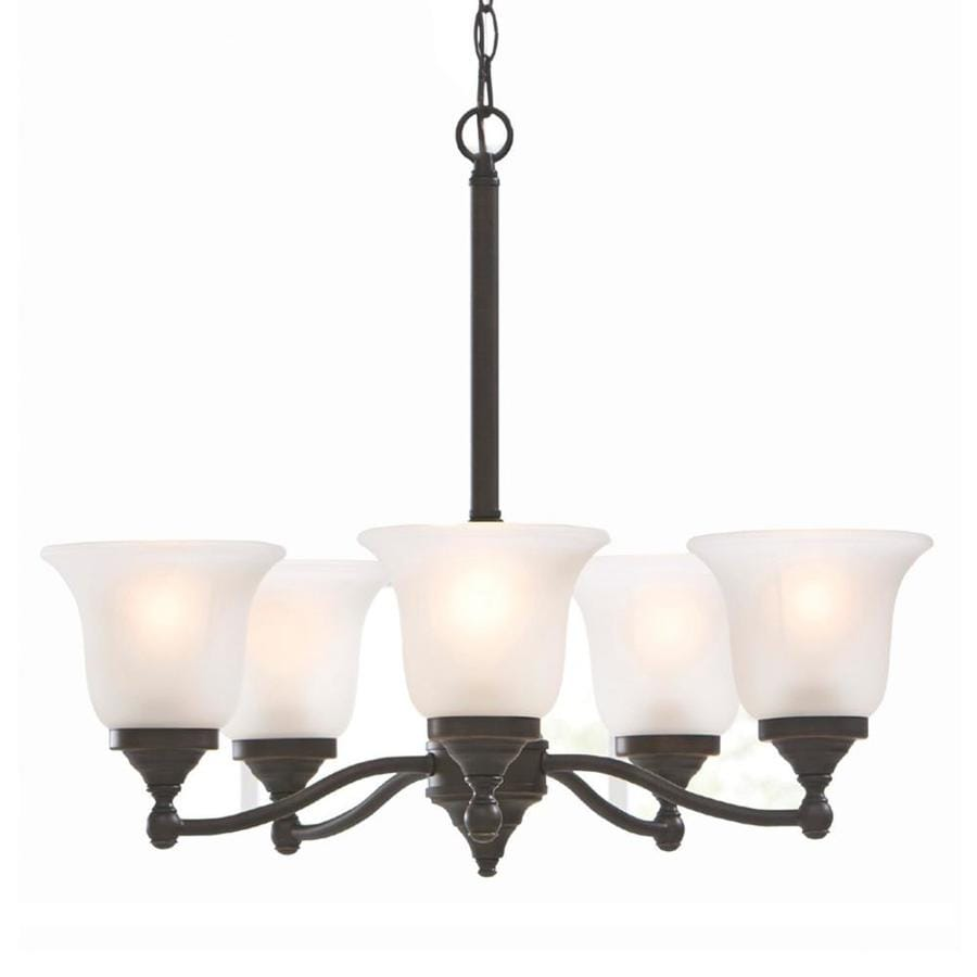 Portfolio Roseall 22.97-in 5-Light Oil-Rubbed bronze Etched Glass Shaded Chandelier