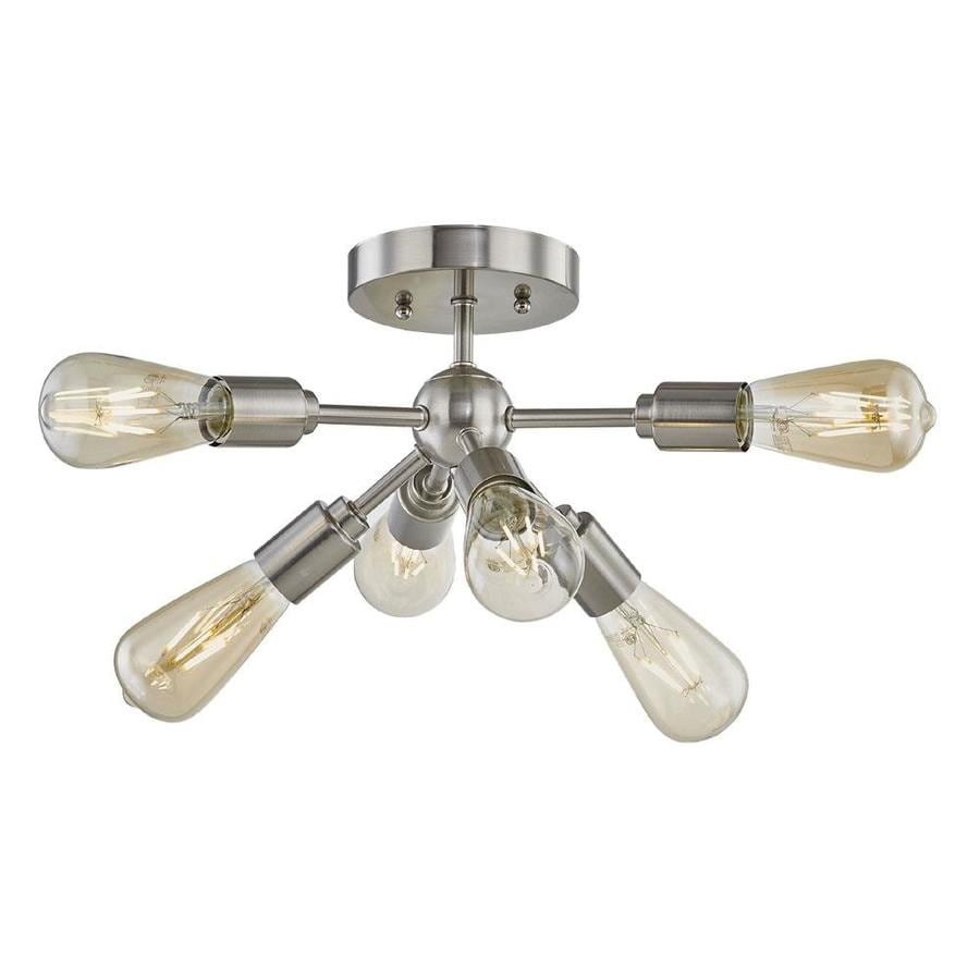 Style Selections Grayford 22 2 In W Brushed Nickel No Shades Semi Flush Mount Light