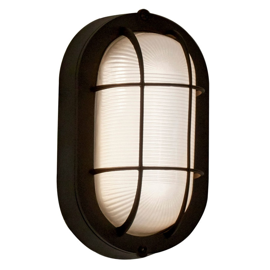 Project Source 4 13 In H Black Led Outdoor Wall Light Energy Star In The Outdoor Wall Lights Department At Lowes Com
