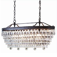 4-Light Oil-Rubbed Bronze Modern/Contemporary Crystal Tiered Chandelier
