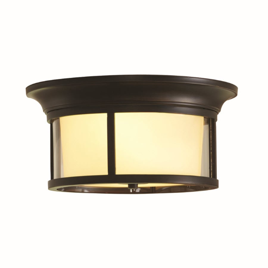 allen + roth Harpwell 13.19-in W Oil-Rubbed Bronze Flush Mount Light