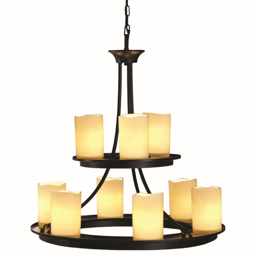 oil rubbed bronze chandelier shop allen roth harpwell 25 in 9 light rubbed bronze 10206
