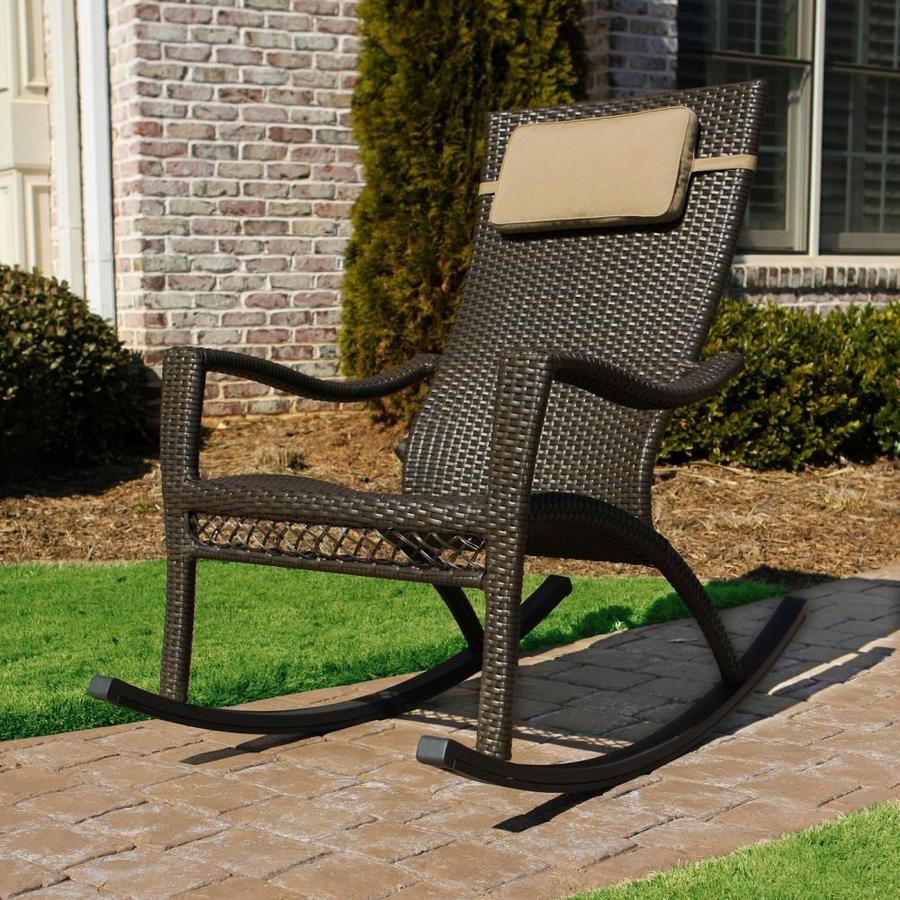 Tortuga Outdoor Wicker Metal Rocking Chair With Woven Seat