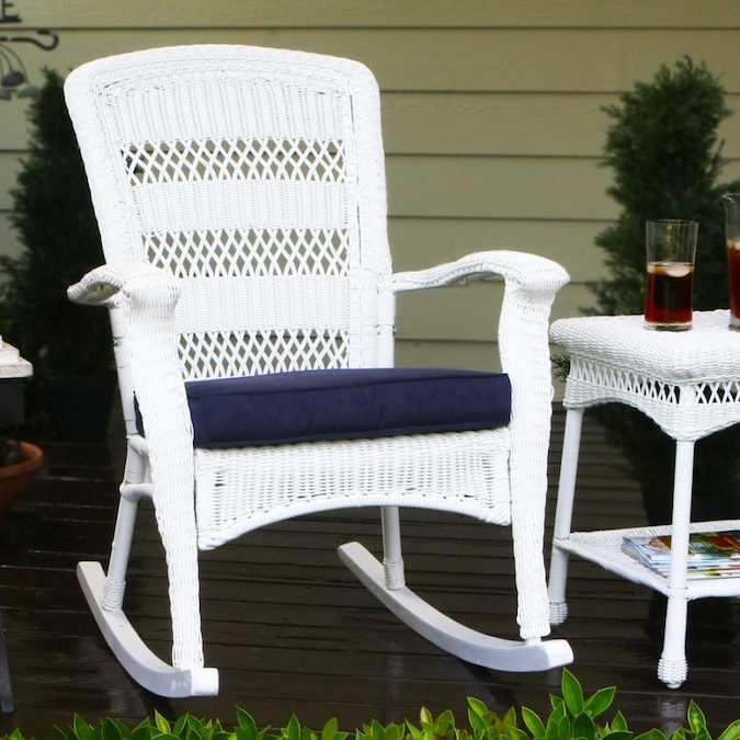 Tortuga Outdoor Portside White Wicker Plastic Rocking Chair S With Navy Blue Cushioned Seat In The Patio Chairs Department At Lowes Com