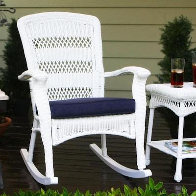 Phenomenal Portside Wicker Plastic Rocking Chair S With Navy Blue Cushioned Seat Machost Co Dining Chair Design Ideas Machostcouk