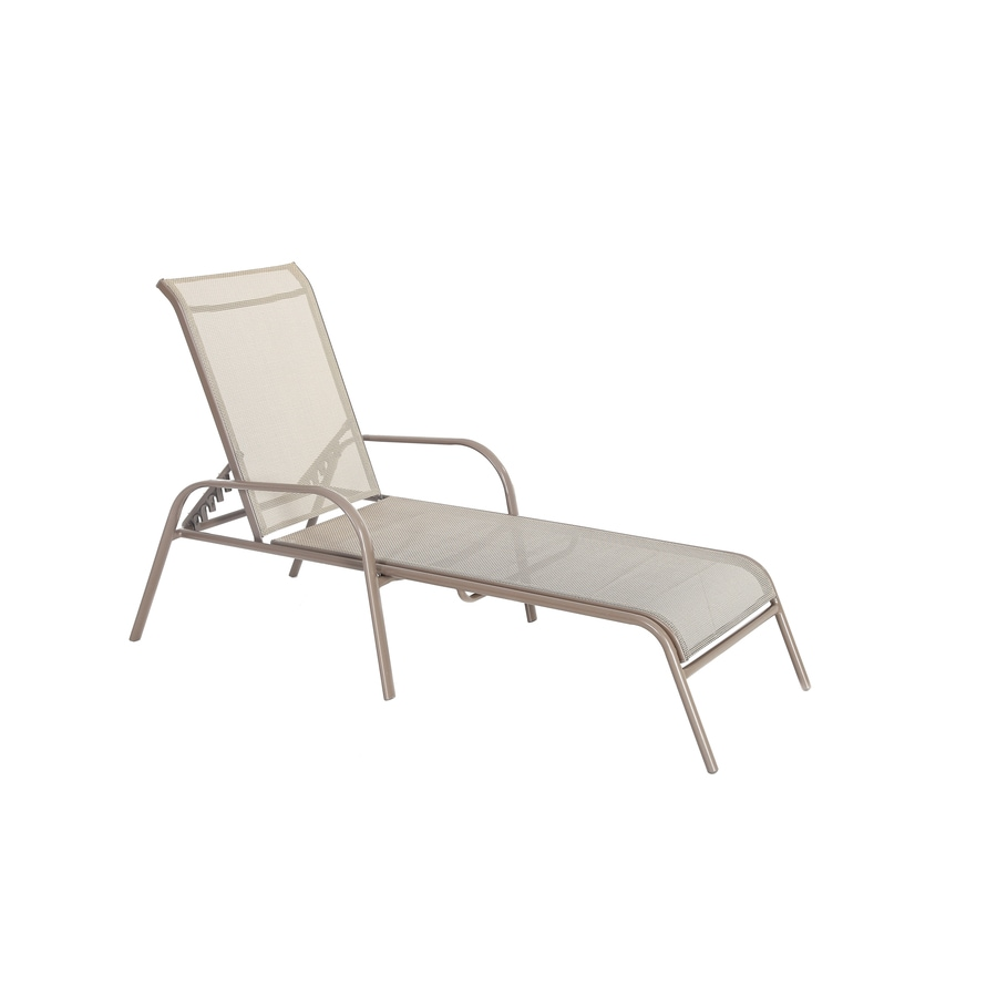 Garden Treasures Driscol Brown Stackable Steel Chaise Lounge Chair With Tan  Sling Seat
