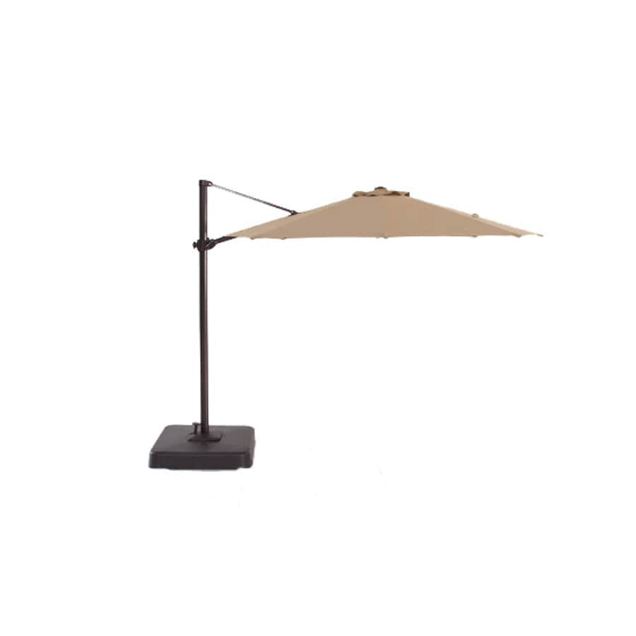 allen + roth Round Tan Patio Umbrella with Tilt-And-Crank (Actual: 118-in)