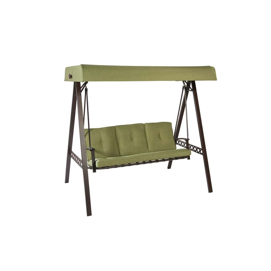 Garden Treasures 3-Seat Steel Casual Cushion Swing