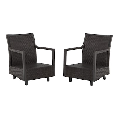 Set Of 2 Hayton Gray Aluminum Woven Patio Spring Motion Chairs