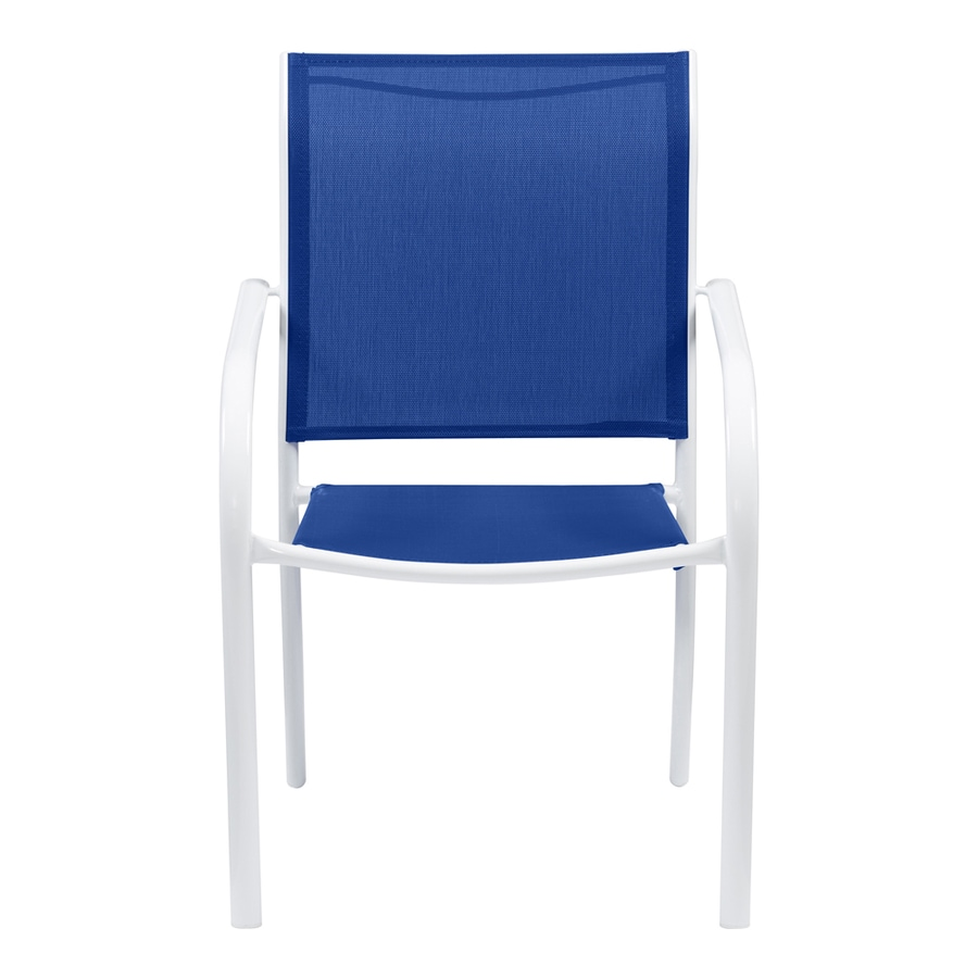 Garden Treasures Pagosa Springs White Steel Stackable Patio Dining Chair  With Blue Sling Fabric