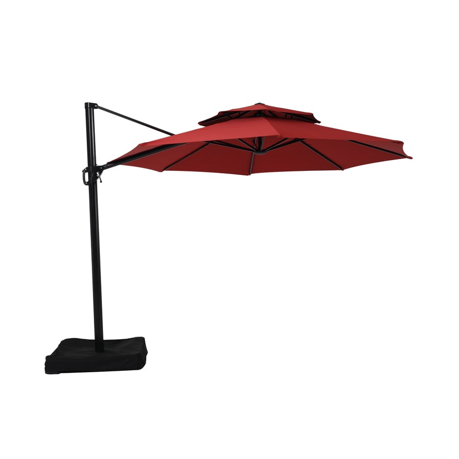 Garden Treasures Red Offset Patio Umbrella (Common: 10.5-ft W x 10.5- - Shop Garden Treasures Red Offset Patio Umbrella (Common: 10.5-ft W X
