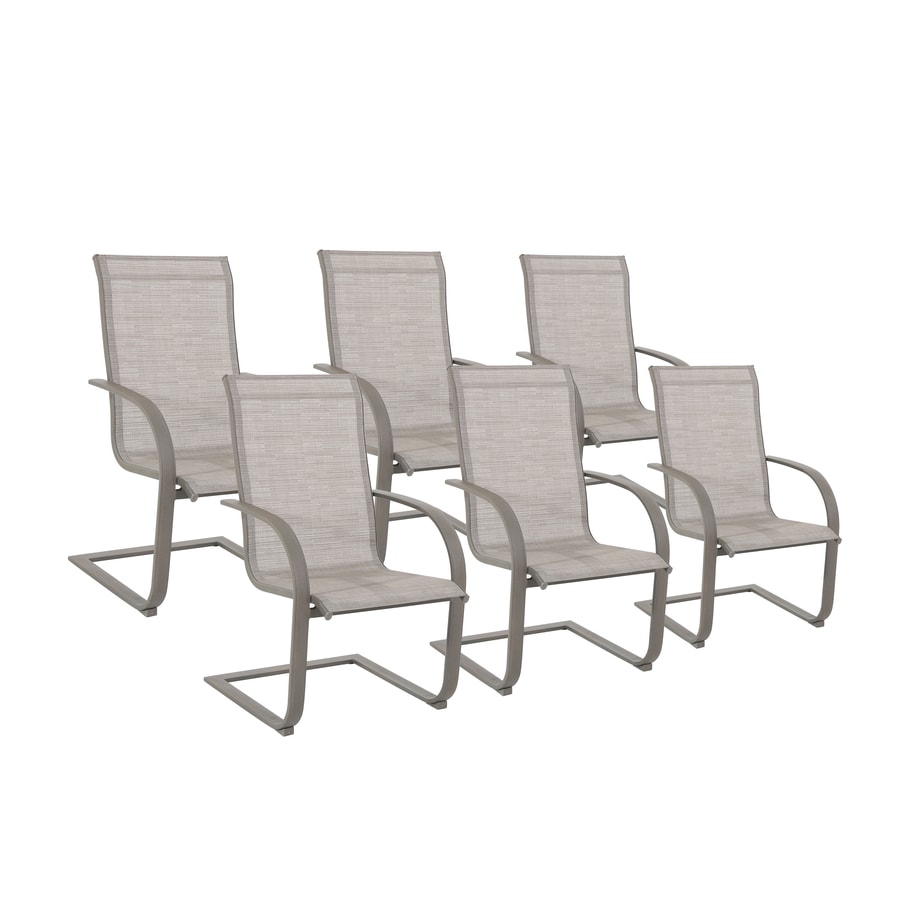 Dining Chair Sets Of 6: Garden Treasures Set Of 6 Hayden Island Sand Sling Steel