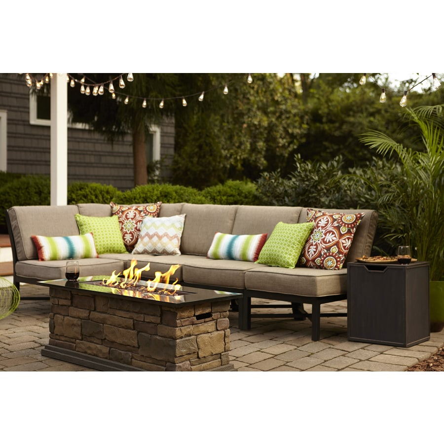 Garden Treasures Palm City 5 Piece Black Steel Patio Conversation Set With  Tan Cushions